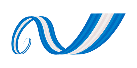 Abstract blue white blue waving ribbon flag Illustration