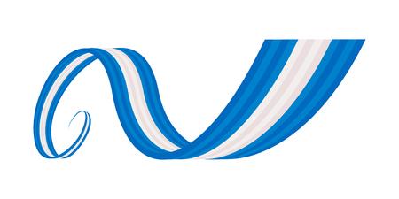 Blauw wit blauw wuivende lint vlag Stock Illustratie
