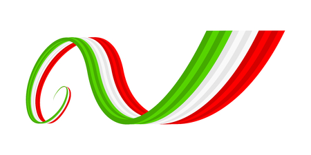 Abstract green white red waving ribbon flag Illustration