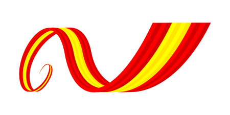 Abstract red yellow red waving ribbon flag