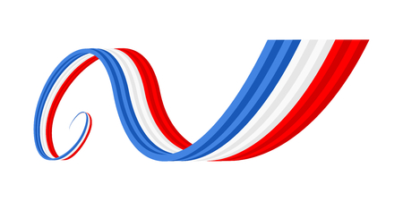 flag france: Abstract blue white red waving ribbon flag