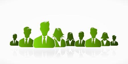 team effort: Green business people silhouettes expressing unity Illustration