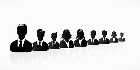 expressing: Black business people silhouettes expressing unity Illustration