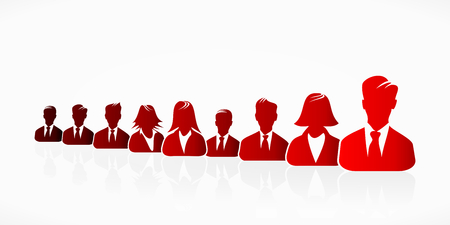 Red business people silhouettes expressing unity Vector