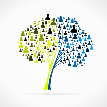 Tree made out of large group of people silhouettes Vector