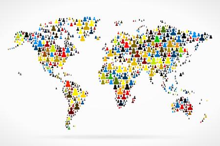 mensen groep: Wereldkaart gemaakt uit grote groep van mensen silhouetten
