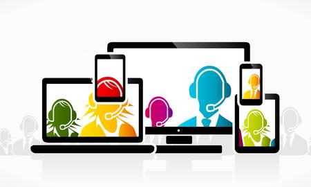 dienstverlening: Technologie klantenservice mensen Stock Illustratie