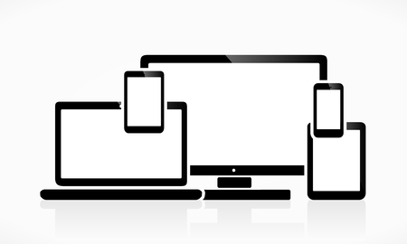 White screen technology devices Illustration