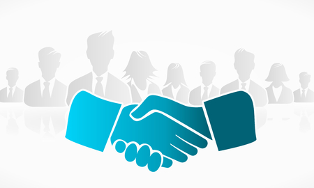 mediation: Handshake with a group of people in the background