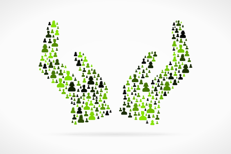 Caring hands symbol made out of large group of people Illustration