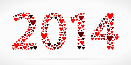 Year 2014 made out of red hearts