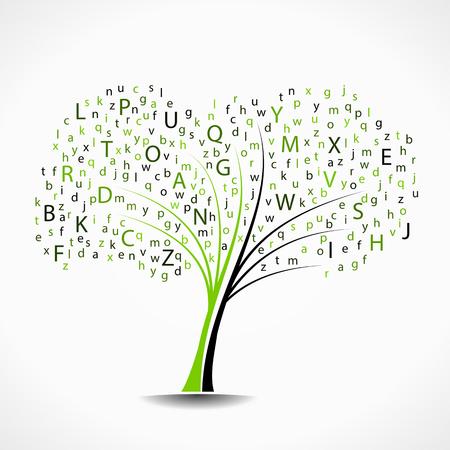 Alphabet tree abstract vector illustration background