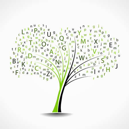 studying: Alphabet tree abstract vector illustration background