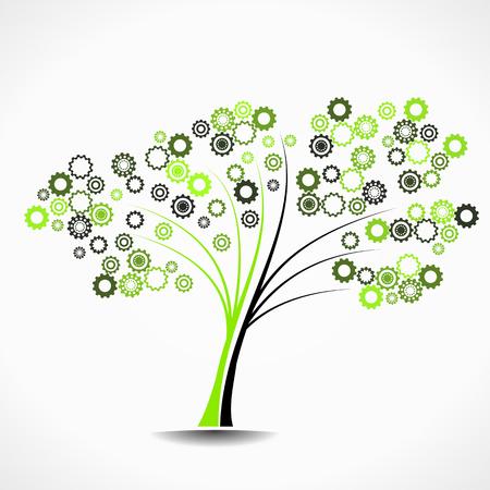 Cogwheel tree abstract vector illustration background Illustration