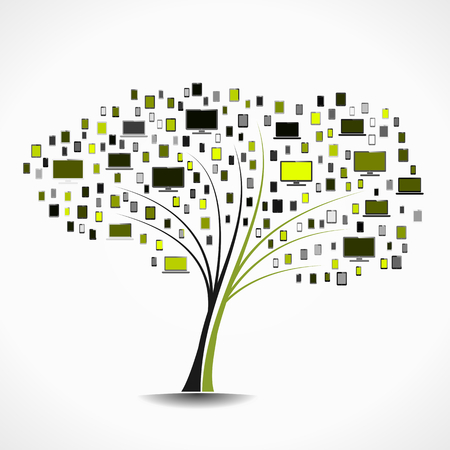 Electronics tree abstract vector illustration background Vector