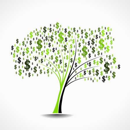 Money tree abstract vector illustration background Vector