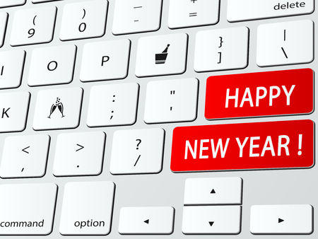 Happy new year written on a computer keyboard Vector