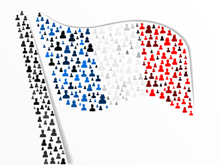 French flag made out of large group of people Vector