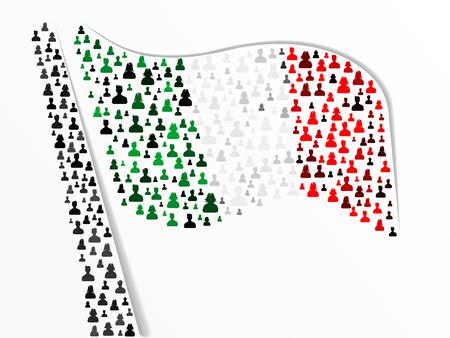 mexican flag: Bandiera italiana e messicana fatta di grande gruppo di persone Vettoriali