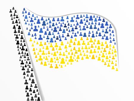 ukrainian flag: Ukrainian flag made out of large group of people Illustration