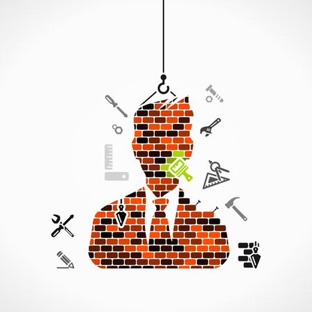 building bricks: Abstract illustration of a businessman construction site Illustration