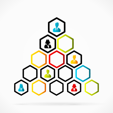 structured: Group of business people structured as organizational pyramid