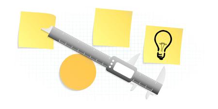 evaluate: Measuring idea precision measuring tool concept Illustration