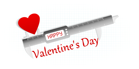 perfect fit: Happy Valentine precision measuring tool concept Illustration