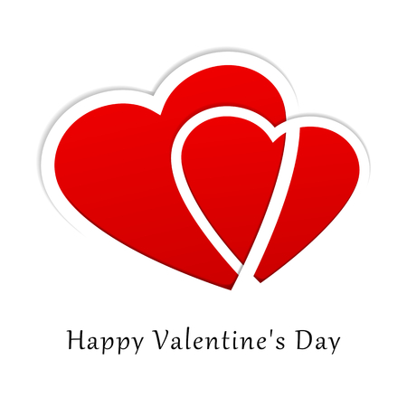 Valentine s day white background wishing card Vector