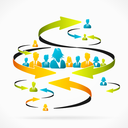 peers: Business team receiving feedback Illustration