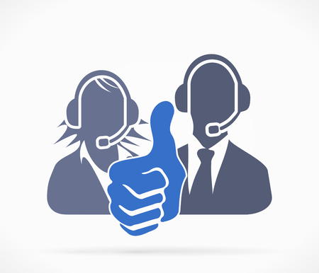 Call center silhouette symbol with thumb up Vector