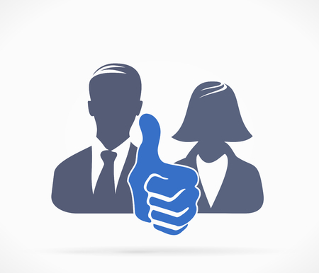 Couple silhouettes avatar with thumb up Vector