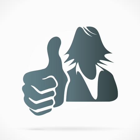 Female silhouette avatar with thumb up Vector