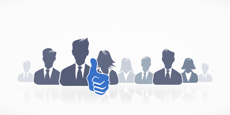 Group of people silhouette avatar with thumb up Vector