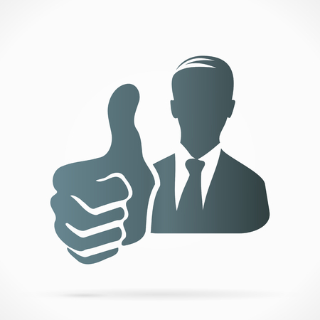 Male silhouette avatar with thumb up Vector