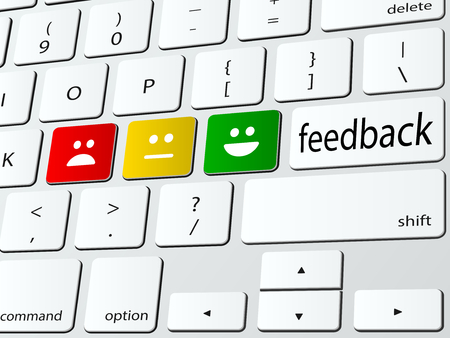 feedback: Online survey computer keyboard vector illustration