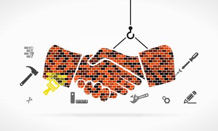 edificio: Resumen ilustración de una obra en construcción apretón de manos