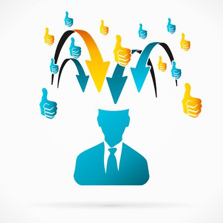 overrun: Abstract avatar vector illustration about positive feedback