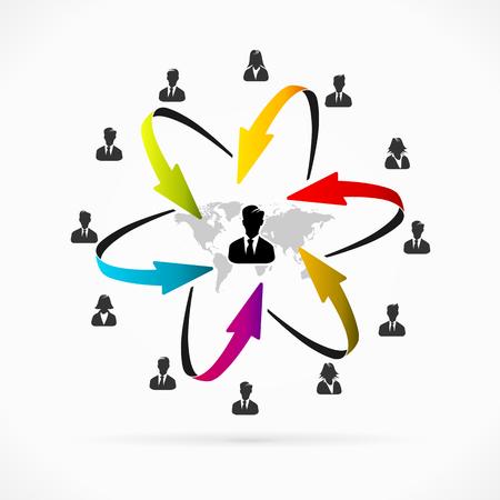 Internet business network icon set vector illustration
