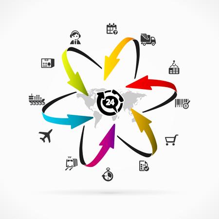 coordinacion: Ilustración icono de la logística de Internet conjunto de vectores