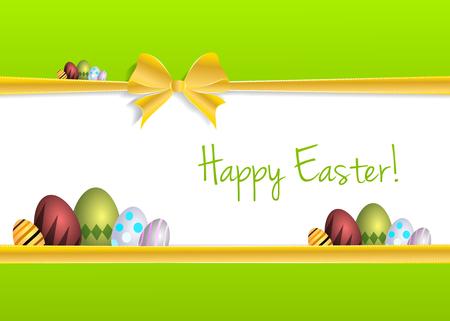 Happy Easter golden ribbon wishing card illustration Vector