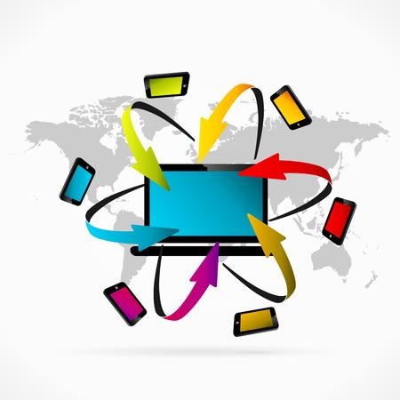 synchronization: Abstract illustration of laptop synchronization