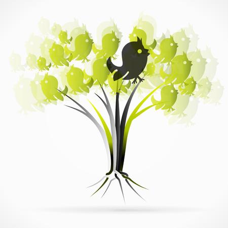 birds in tree: Birds tree Illustration