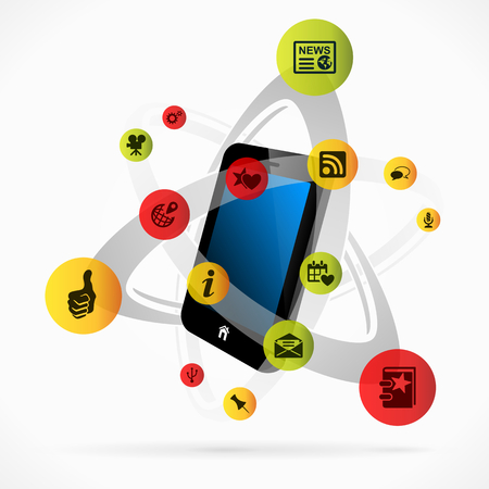 Social media mobile applications concept illustration Vector