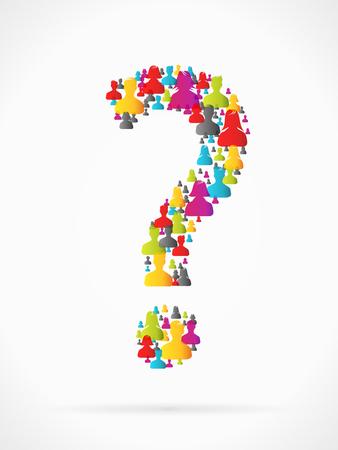 questioning: Fragezeichen aus der gro�en Gruppe von Menschen Silhouetten transparent gemacht