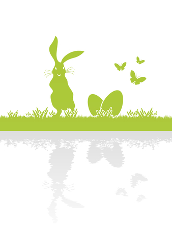 Easter bunny with reflection searching for Easter eggs Vector