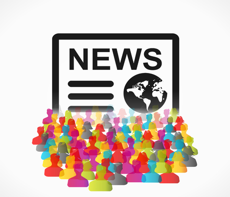 News abstract illustration with group of people Vector