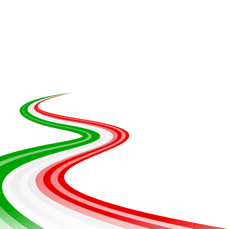 italian flag: Abstract waving green white red ribbon flag