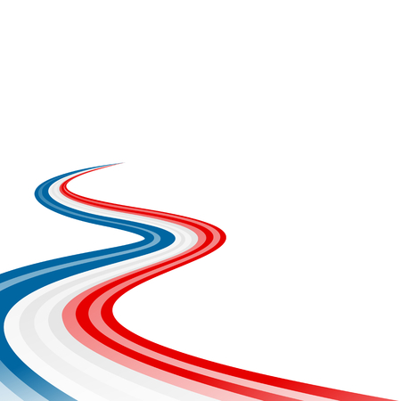 Abstract waving blue white red ribbon flag Vettoriali