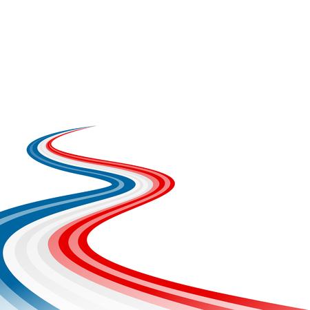 Niebieski streszczenie macha flaga czerwona wstążka biała Ilustracje wektorowe